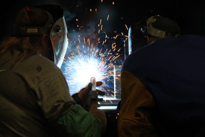 Close Up on Sparks from Welding